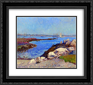 Portsmouth Harbor, New Hampshire 22x20 Black or Gold Ornate Framed and Double Matted Art Print by William James Glackens