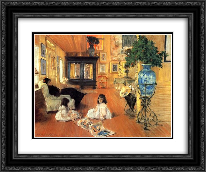 Hall at Shinnecock 24x20 Black or Gold Ornate Framed and Double Matted Art Print by William Merritt Chase