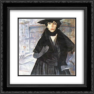 A Lady in Black 20x20 Black or Gold Ornate Framed and Double Matted Art Print by Boris Grigoriev