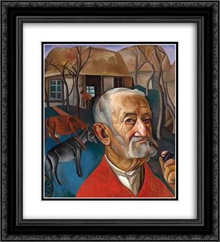 A Man with a Pipe 20x22 Black or Gold Ornate Framed and Double Matted Art Print by Boris Grigoriev