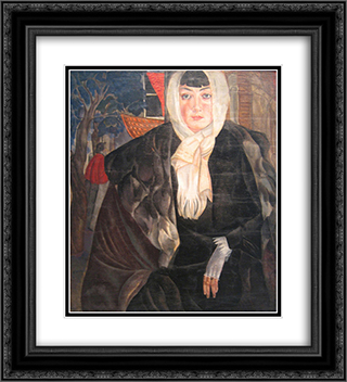 Dushka 20x22 Black or Gold Ornate Framed and Double Matted Art Print by Boris Grigoriev