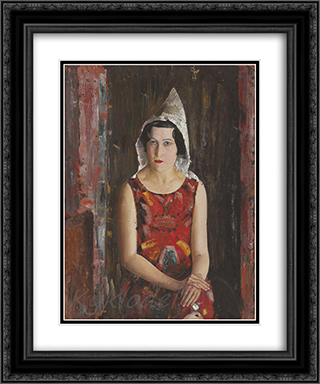 Girl From California 20x24 Black or Gold Ornate Framed and Double Matted Art Print by Boris Grigoriev