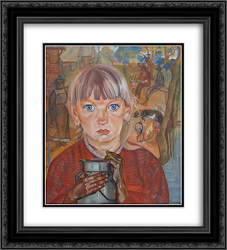Girl with a Milk Can 20x22 Black or Gold Ornate Framed and Double Matted Art Print by Boris Grigoriev