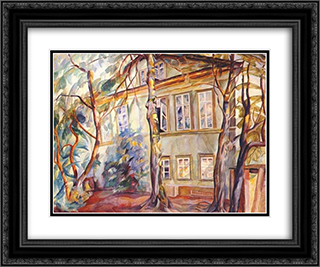 House under the trees 24x20 Black or Gold Ornate Framed and Double Matted Art Print by Boris Grigoriev