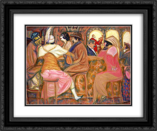 In a Paris Cafe 24x20 Black or Gold Ornate Framed and Double Matted Art Print by Boris Grigoriev