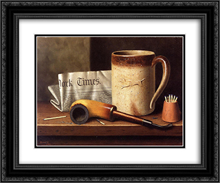 His Mug and His Pipe 24x20 Black or Gold Ornate Framed and Double Matted Art Print by William Michael Harnett