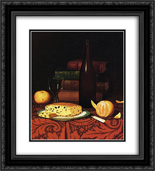 Still Life with Raisin Cake, Fruit and Wine 20x22 Black or Gold Ornate Framed and Double Matted Art Print by William Michael Harnett