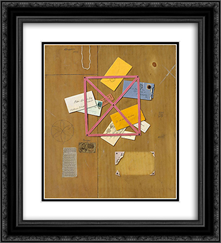 The Artist's Letter Rack 20x22 Black or Gold Ornate Framed and Double Matted Art Print by William Michael Harnett