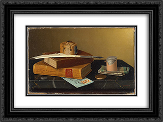 The Banker's Table 24x18 Black or Gold Ornate Framed and Double Matted Art Print by William Michael Harnett