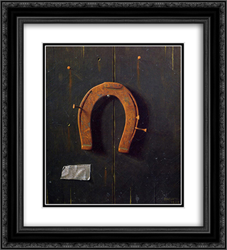 The Golden Horseshoe 20x22 Black or Gold Ornate Framed and Double Matted Art Print by William Michael Harnett