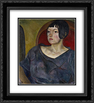 Portrait Of A Woman 20x22 Black or Gold Ornate Framed and Double Matted Art Print by Boris Grigoriev