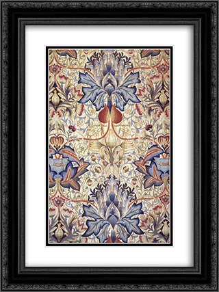 Acanthus embroidered panel 18x24 Black or Gold Ornate Framed and Double Matted Art Print by William Morris