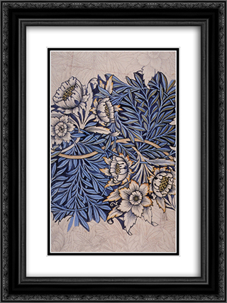 Design for Tulip and Willow indigo-discharge wood-block printed fabric 18x24 Black or Gold Ornate Framed and Double Matted Art Print by William Morris