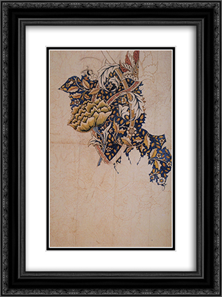 Design for Windrush printed textile 18x24 Black or Gold Ornate Framed and Double Matted Art Print by William Morris
