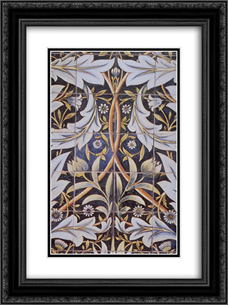 Panel of ceramic tiles designed by Morris and produced by William De Morgan 18x24 Black or Gold Ornate Framed and Double Matted Art Print by William Morris