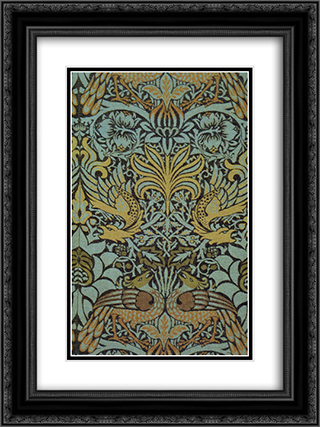 Peacock and Dragon woven wool furnishing fabric 18x24 Black or Gold Ornate Framed and Double Matted Art Print by William Morris