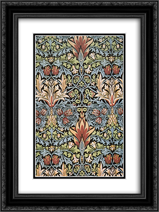 Snakeshead printed textile 18x24 Black or Gold Ornate Framed and Double Matted Art Print by William Morris