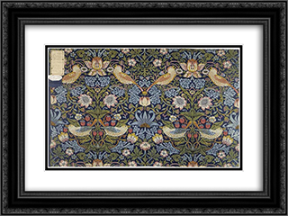 Strawberry Thief, furnishing fabric 24x18 Black or Gold Ornate Framed and Double Matted Art Print by William Morris