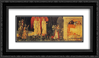 The Vision of the Holy Grail tapestry 24x14 Black or Gold Ornate Framed and Double Matted Art Print by William Morris