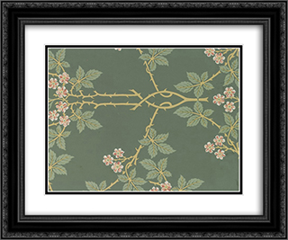 Wallpaper - Blackberry, pattern #388 24x20 Black or Gold Ornate Framed and Double Matted Art Print by William Morris