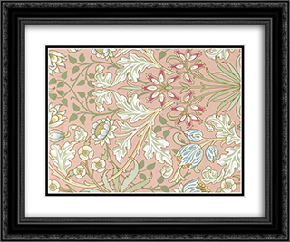 Wallpaper - Hyacinth, pattern #480 24x20 Black or Gold Ornate Framed and Double Matted Art Print by William Morris