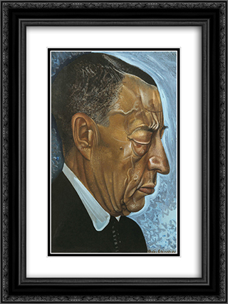 Portrait of Sergei Rachmaninoff 18x24 Black or Gold Ornate Framed and Double Matted Art Print by Boris Grigoriev