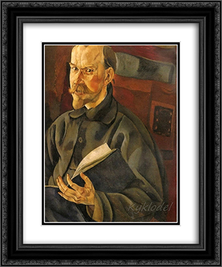 Portrait of the Artist B.M. Kustodiev 20x24 Black or Gold Ornate Framed and Double Matted Art Print by Boris Grigoriev