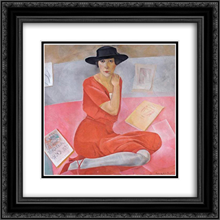 Salome Andronnikova 20x20 Black or Gold Ornate Framed and Double Matted Art Print by Boris Grigoriev