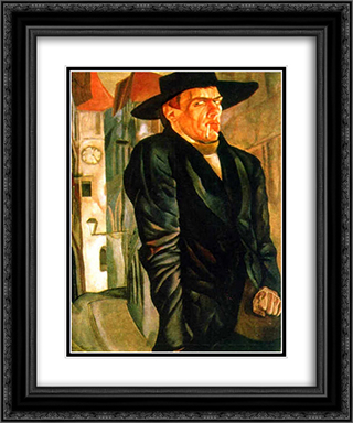 Self-Portrait 20x24 Black or Gold Ornate Framed and Double Matted Art Print by Boris Grigoriev
