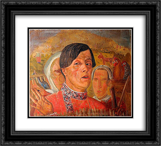 Self-Portrait with a Chicken and a Rooster 22x20 Black or Gold Ornate Framed and Double Matted Art Print by Boris Grigoriev