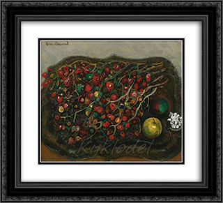 Still life with berries and apples 22x20 Black or Gold Ornate Framed and Double Matted Art Print by Boris Grigoriev