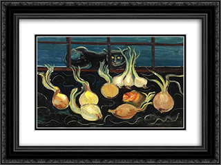 Still Life with Cat and Onions 24x18 Black or Gold Ornate Framed and Double Matted Art Print by Boris Grigoriev