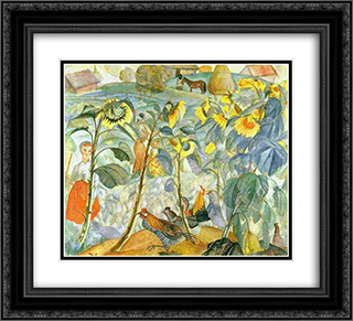 Sunflowers 22x20 Black or Gold Ornate Framed and Double Matted Art Print by Boris Grigoriev