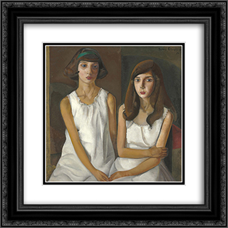 The Twins 20x20 Black or Gold Ornate Framed and Double Matted Art Print by Boris Grigoriev