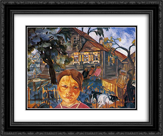 Village 24x20 Black or Gold Ornate Framed and Double Matted Art Print by Boris Grigoriev