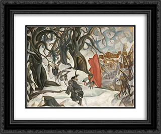 Winter. Red Hill in the realm of Berendey 24x20 Black or Gold Ornate Framed and Double Matted Art Print by Boris Grigoriev