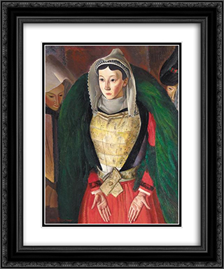 Woman from Bretagne 20x24 Black or Gold Ornate Framed and Double Matted Art Print by Boris Grigoriev