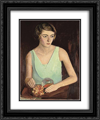 Woman in green dress 20x24 Black or Gold Ornate Framed and Double Matted Art Print by Boris Grigoriev