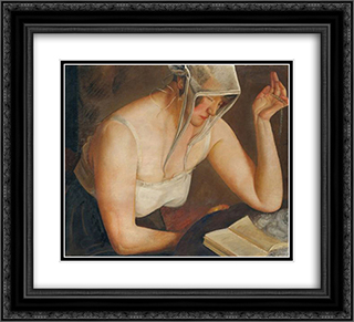 Woman Reading 22x20 Black or Gold Ornate Framed and Double Matted Art Print by Boris Grigoriev