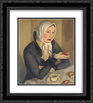 Woman With Apple 20x22 Black or Gold Ornate Framed and Double Matted Art Print by Boris Grigoriev