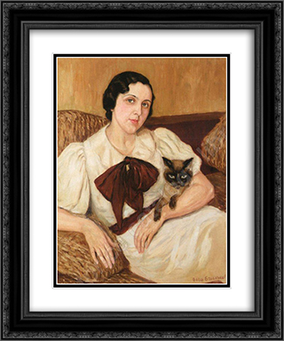 Woman With Cat 20x24 Black or Gold Ornate Framed and Double Matted Art Print by Boris Grigoriev
