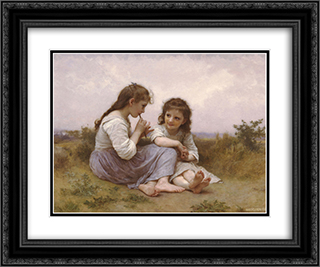 A Childhood Idyll 24x20 Black or Gold Ornate Framed and Double Matted Art Print by William Adolphe Bouguereau