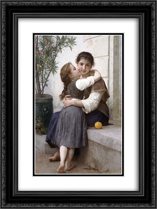 A Little Coaxing 18x24 Black or Gold Ornate Framed and Double Matted Art Print by William Adolphe Bouguereau