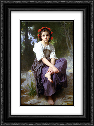 At the Edge of the Brook 18x24 Black or Gold Ornate Framed and Double Matted Art Print by William Adolphe Bouguereau