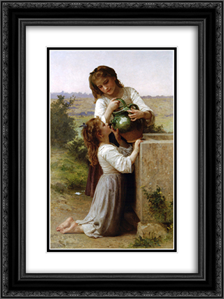 At The Fountain 18x24 Black or Gold Ornate Framed and Double Matted Art Print by William Adolphe Bouguereau