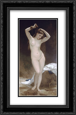 Baigneuse 16x24 Black or Gold Ornate Framed and Double Matted Art Print by William Adolphe Bouguereau