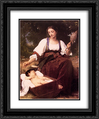 Berceuse 20x24 Black or Gold Ornate Framed and Double Matted Art Print by William Adolphe Bouguereau