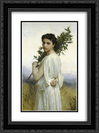 Branche de Laurier 18x24 Black or Gold Ornate Framed and Double Matted Art Print by William Adolphe Bouguereau