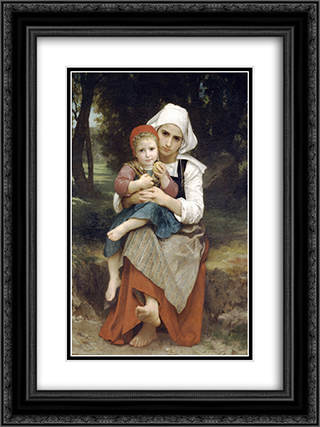 Breton Brother and Sister 18x24 Black or Gold Ornate Framed and Double Matted Art Print by William Adolphe Bouguereau