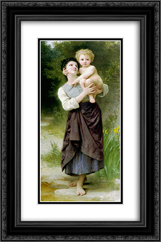 Brother and Sister 16x24 Black or Gold Ornate Framed and Double Matted Art Print by William Adolphe Bouguereau
